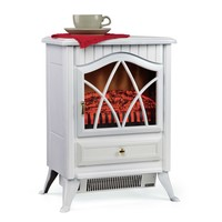 White 400 Square Foot Electric Space Heater Fireplace Stove
