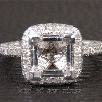 Diamond Engagement Semi Mount Ring 14K White Gold Setting Princess 6.5x6.5mm