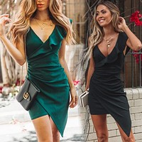 2020 new women's irregular deep V sexy suspender dress