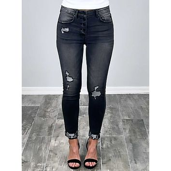 Kan Can Logan Exposed Button Jeans - Grey