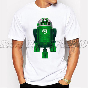 Droid design men fashion t-shirt shor sleeve casual hipster tops Green Lantern Droid t shirts men funny cool tee