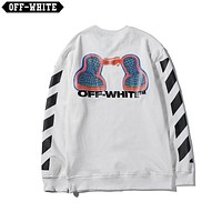 OFF-WHITE 2019 new character printing fashion high street round neck sweater white