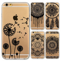 For Apple iPhone 4 4S 5 5S SE 5C 6 6S 6Plus 6s Plus Case Black Floral Paisley Flower Mandala Patterned TPU Silicon Covers Capa