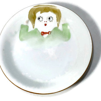 Antique Nippon Googly Eye Bowl - Childs Dish - Hand Painted Collectible, Rising Sun Mark, 1920s vintage Noritake
