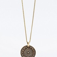 Aztec Disc Necklace in Gold - Urban Outfitters