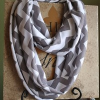Gray and White Chevron Infinity Scarf