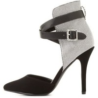 Ankle Wrap Pointed Toe D'Orsay Heels by Charlotte Russe - Black Combo