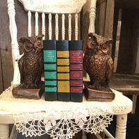 Vintage Owl Bookends , Universal Statuary Corp , 1962 , Chalkware , Animal Bookends, Owl Decor , Heavy Bookends , Wildlife , Forest , Office