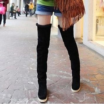 Fashion Long Snow Boots Women Knee High Boots Flat Heeled Over the Knee Boots Wedges Shoes