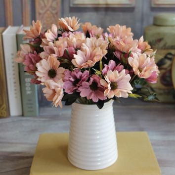 1pcs 10 Heads European Floral Artificial Daisy Silk Flower Bouquet Spring Daisy For Wedding decoration Cheap Fake Daisy Flowers