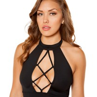 Black Lace Up Crop Top Rave Clothing