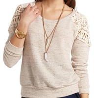 HEATHERED CROCHET SWEATSHIRT