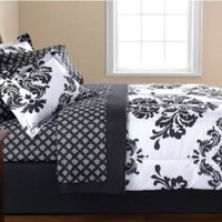 Black & White Damask Twin Comforter & Sheet Set (6 Piece Bed In A Bag)