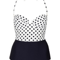 Cream Texture Polka Swimsuit - View All - New In This Week - New In - Topshop