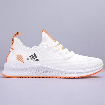 Adidas Fashion New Letter Print Knit Running Sports Leisure Shoes White