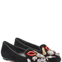 Alexander McQueen - Velvet Slippers with Embellishment and Embroidery