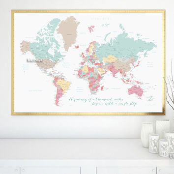 """Printable large world map with cities and capitals in pastel colors, a travel of a thousand miles begins with a single step, large 60x40"""""""