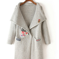 Patch Embroidery with Double Pocket V-Neck Collar Knitted Coat