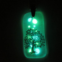 Glow in the Dark Glass Necklace - Spiral Tree
