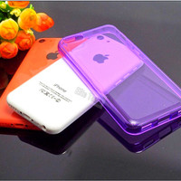 8 Cute Color New Design Transparent Logo Clearly Cover For Apple iphone 5C iPhone5C Case TPU Soft Silicon Cases Best Phone Shell