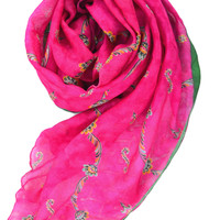 long pink floral scarf