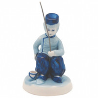 Delft Blue & White Figurine: Dutch Boy Fishing