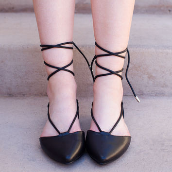 Blanca Lace Up Ballet Flats - Black