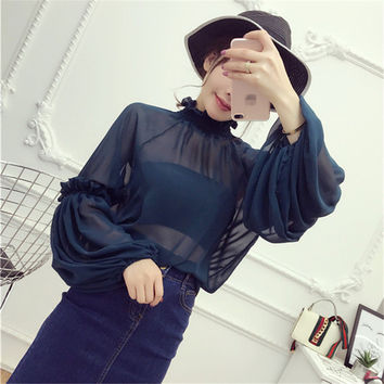 2017 New Female Korea Style Fashion Chiffon Blouses With Wrapped Chest Sexy Shirt woman Blouse Lantern Sleeve Tops 72475