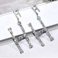 Hermes Fashion New Letter More Diamond Long Earring Women Accessories Silver