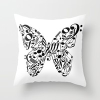 Music butterfly Throw Pillow by Hedehede