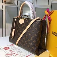 LV Louis Vuitton new ladies printed letters shopping shoulder bag diagonal bag Coffee LV print