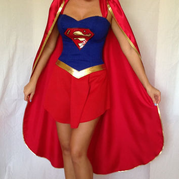 Supergirl Costume with Cape Custom Made Sizes XS-M