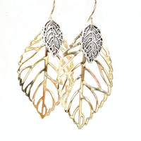 Large Leaf Earrings, Gold Filled/Sterling Silver, Nature Jewelry, Woodland Jewelry, Boho Earrings, Mixed Metal Earrings, Gift Idea For Women