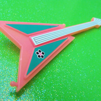 Plastic Barbie Style Guitar Brooch - Pink White Teal - Toy Guitar Plastic Pin - Big Bold Kitsch Guitar - One of a Kind - Unique