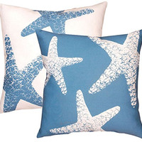 """Manual Woodworkers (2) Blue Starfish 18"""" x 18"""" Climaweave Indoor/Outdoor Pillows"""
