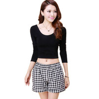 Sexy Cozy Ladies Camiseta Fashion Women Cut-Out Croped Tops Long Sleeve Clubwear  T-shirt
