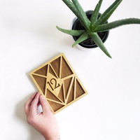 Mid-Century Modern Gold Leaf + Walnut Geometric Wedding Table Numbers