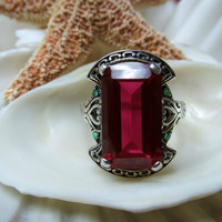 Sterling Silver Opal and Faux Ruby Ring Size 7.5
