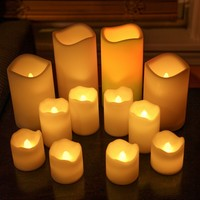 Set of 12 Ivory Resin Outdoor Flameless LED Battery Operated Amber and Color Changing Candles in Assorted Sizes with Batteries Included