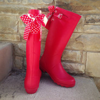 Tall Red Rain Boots with Heart Bows