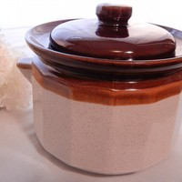 Vintage Brown Drip Pottery Lidded Bean Pot or Casserole Dish