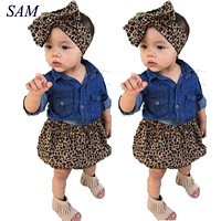 Cute Baby Girls Clothes Summer Toddler Kids Denim Tops Leopard Culotte Skirt Outfits Children Girl Clothing Set