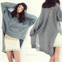 Women Sweater Short Sleeve Hollow Out Jumper Pullover Tunic Top Knit Crochet F_B (Color Gray) = 1958345924