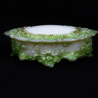 Victorian Milk Glass Oval Dresser Pin Box / 1800s Antique Vanity / Art Nouveau