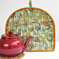 Christmas Tea Cozy, Quilted Tea Cozy, Tea Pot Mat, Trivet, Teapot Cover, Blue Baubles, Insulated Tea Cozy, Quiltsy Handmade