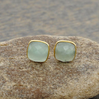 Aqua Chalcedony Faceted Cushion Gemstone Stud Earrings Micron Gold Plated 925 Sterling Silver Stud Earrings, 9mm - #1597