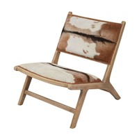 Goatskin Leather Lounger Natural Hide,Mid Tone Wood
