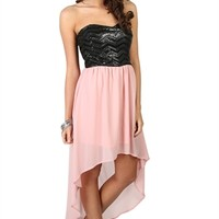 Strapless High Low Dress with Sequin Faux Leather Bodice