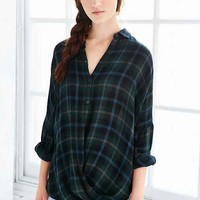 BDG Structured Surplice-Front Button-Down Shirt