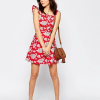ASOS Button Front Sundress with Off Shoulder Detail in Floral Print at asos.com